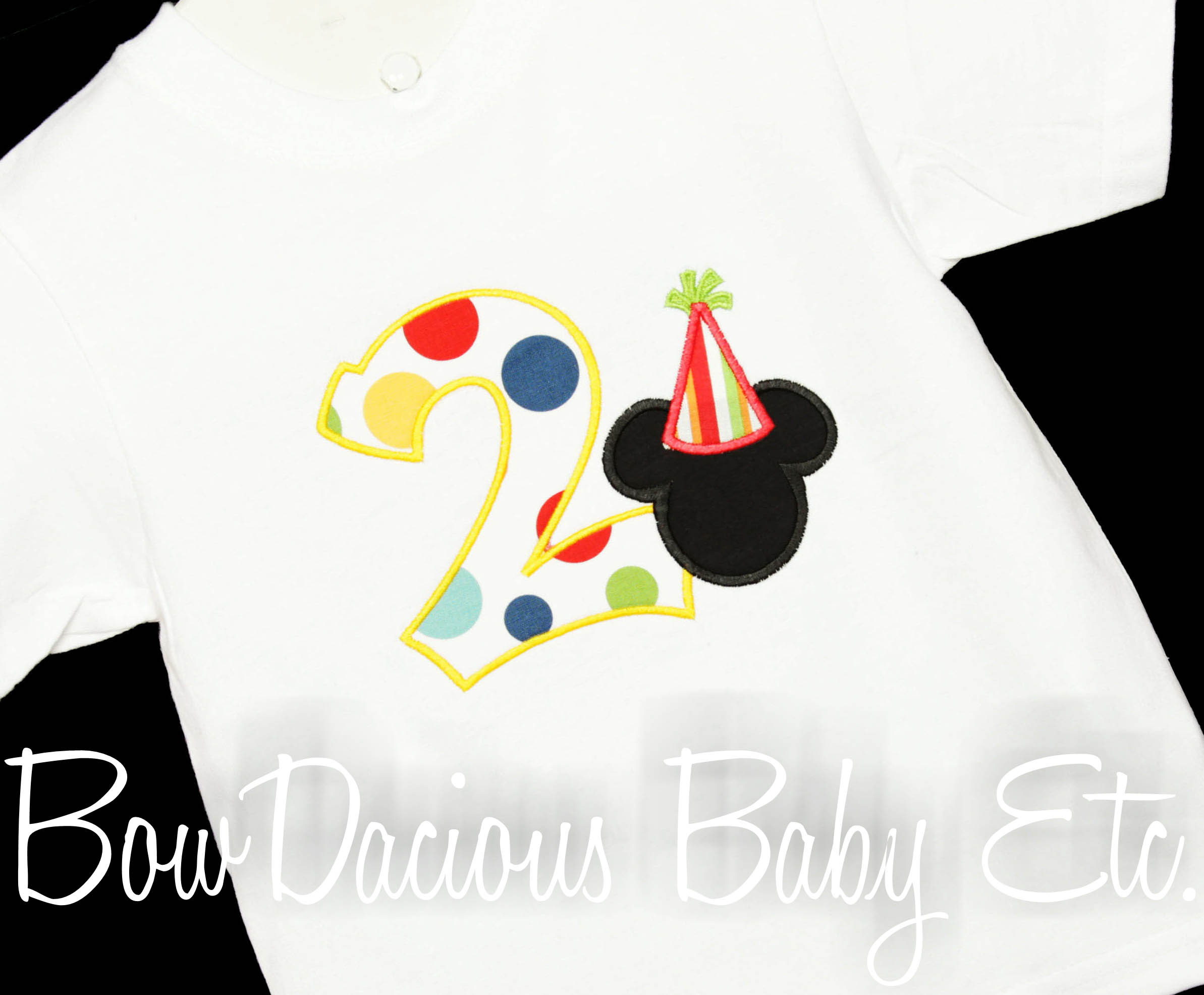 Personalized Mickey Mouse with Party Hat Birthday Shirt in Red and Yellow, Great for Girls Too, SHORT or LONG SLEEVES