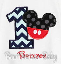 Mickey Mouse Birthday Shirt, Mickey with Pants Birthday Shirt or Onesie, Appliqued Mickey Shirt - 1st Birthday Shirt