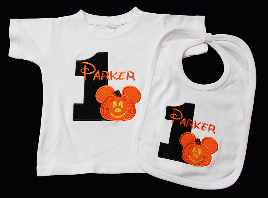 Pumpkin Mickey Mouse Birthday Shirt and Bib, Halloween Mickey Birthday Outfit, Custom, Mickey's Not So Scary Halloween Party Birthday Outfit