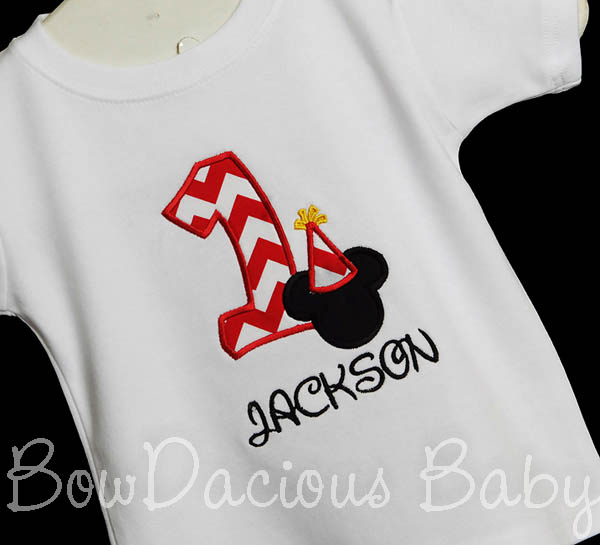 1st BIRTHDAY Mickey Hat Boy Shirt Disney Font Applique Personalized, Shirt or Onesie, Custom