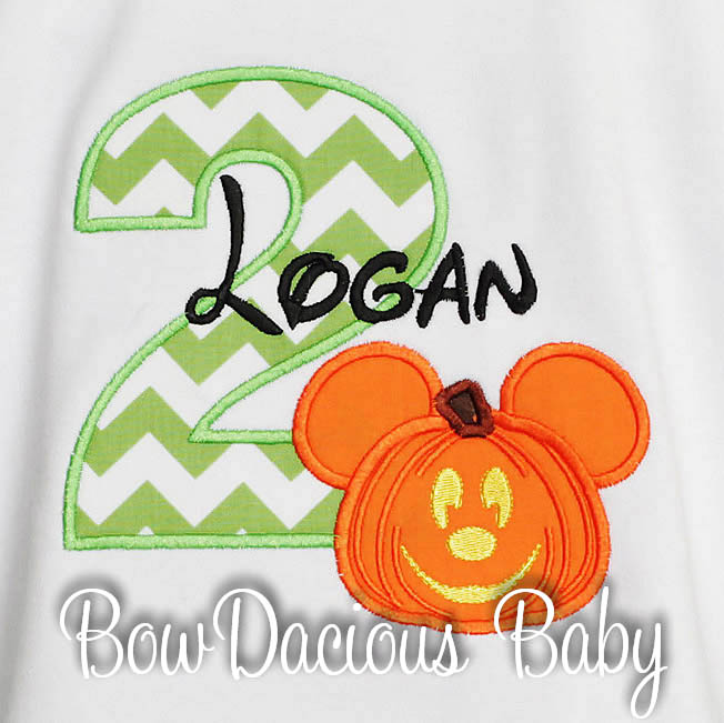 Mickey Mouse Pumpkin Birthday Shirt or Onesie, Custom, Long or Short Sleeves, Boy's or Girls, Mickey's Not So Scary Halloween Party Shirt