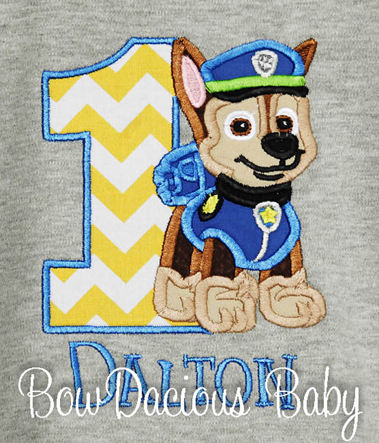 Gray Paw Patrol Birthday Shirt or Onesie, Custom, Any Age