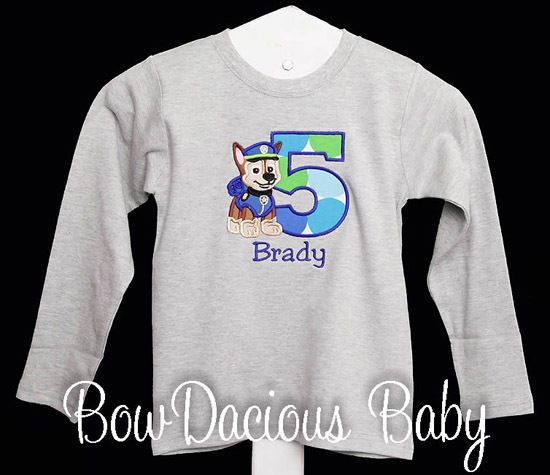 Boys Chase Paw Patrol Custom Birthday Shirt or Onesie, Any Age