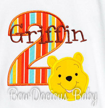 Winnie the Pooh Birthday Shirt or Onesie, Custom, Any Age, Any Colors