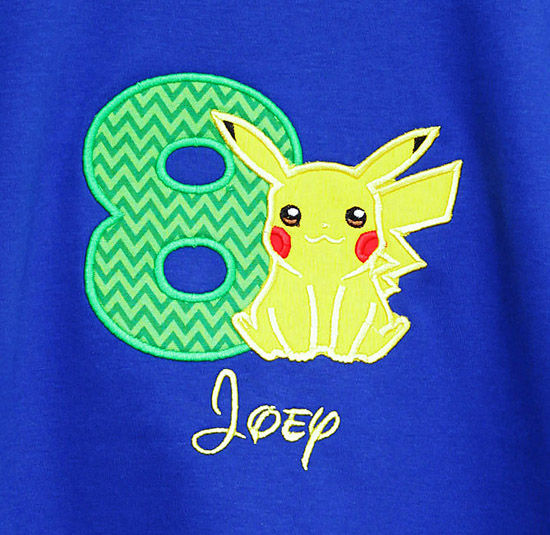 Boys Pikachu Birthday Shirt, Custom, Any Age