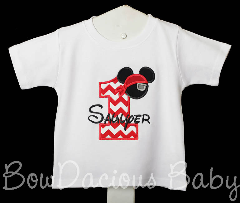 Personalized Mickey Mouse Pirate Birthday Shirt with Appliqued Age, Eye Patch and Pirate hat. Short or Long Sleeve Shirt, Custom, Any Age