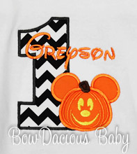 Halloween Mickey Mouse Birthday Shirt or Onesie, Custom, Any Age, Boys or Girls, Pumpkin Mickey Mouse Shirt