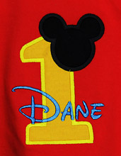 Red Mickey Mouse Birhtday Shirt or Onesie, Custom, You Pick the Colors