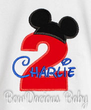 Mickey Mouse Boys Personalized Birthday Tee Shirt, Custom, Any Age, Shirt or Onesie