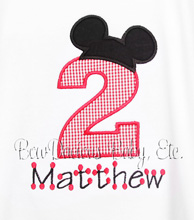 Mickey Birthday T-Shirt or Onesie, Custom, Any Age, Long or Short Sleeves