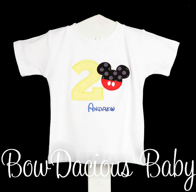 Mickey Mouse Birthday Shirt, Mickey with Pants Number, Appliqued Mickey Shirt, 1st Birthday Shirt or Onesie, Custom