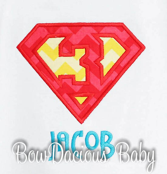 Boys Superman Birthday Shirt or Onesie, Custom, Any Age