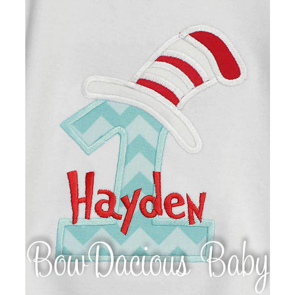 Cat In The Hat 1st Birthday Shirt Or Onesie You Pick Fabrics