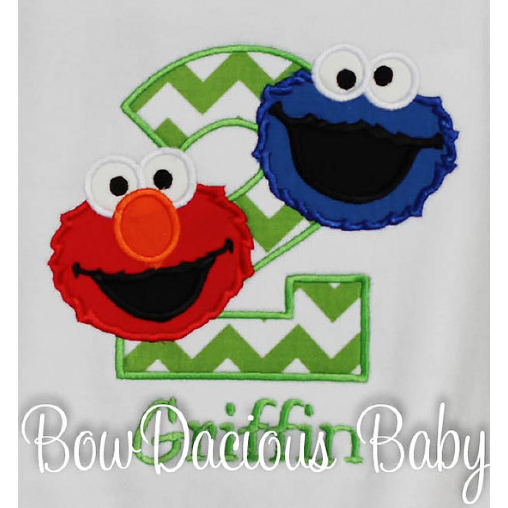 Sesame Street Elmo And Cookie Monster Birthday Shirt Or Onesie