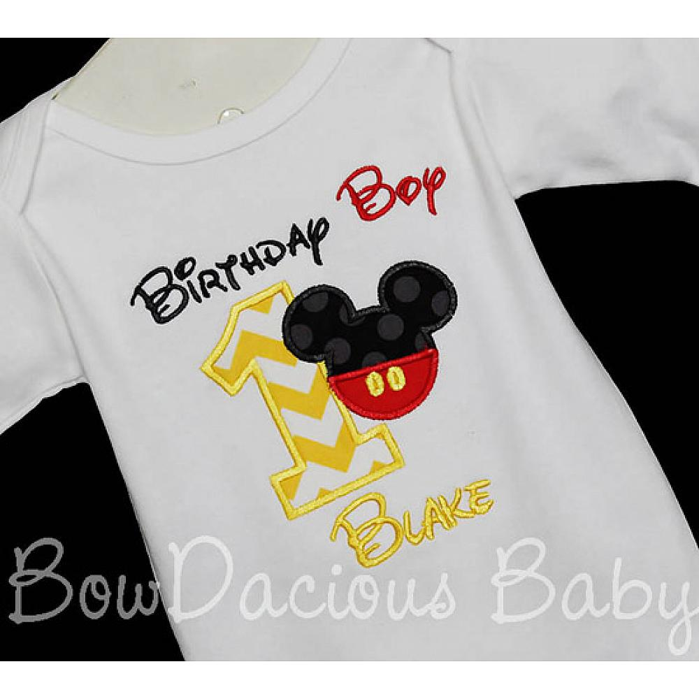 Custom Birthday Boy Mickey Mouse Shirt Or Onesie