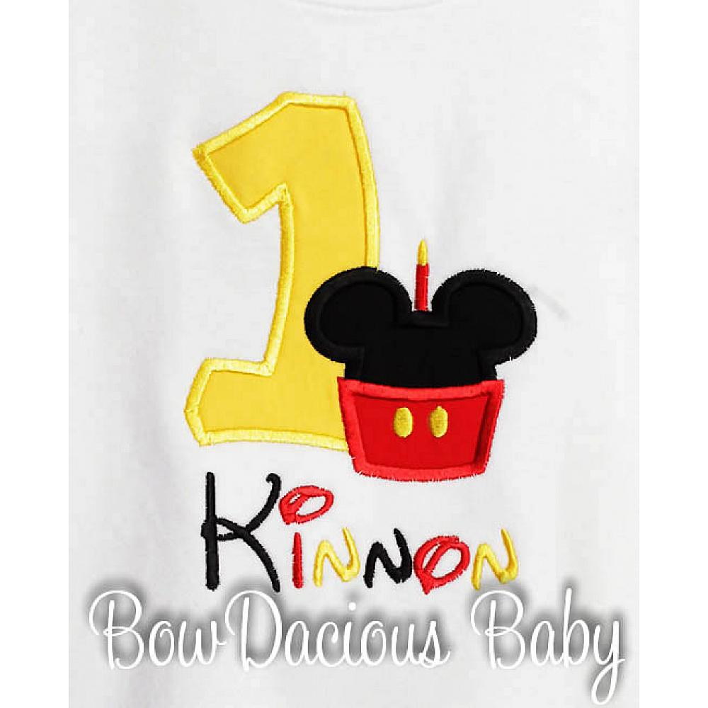 Mickey Minnie Mouse Birthday Shirt Or Onesie Custom Embroidered Applique Cupcake Monogram