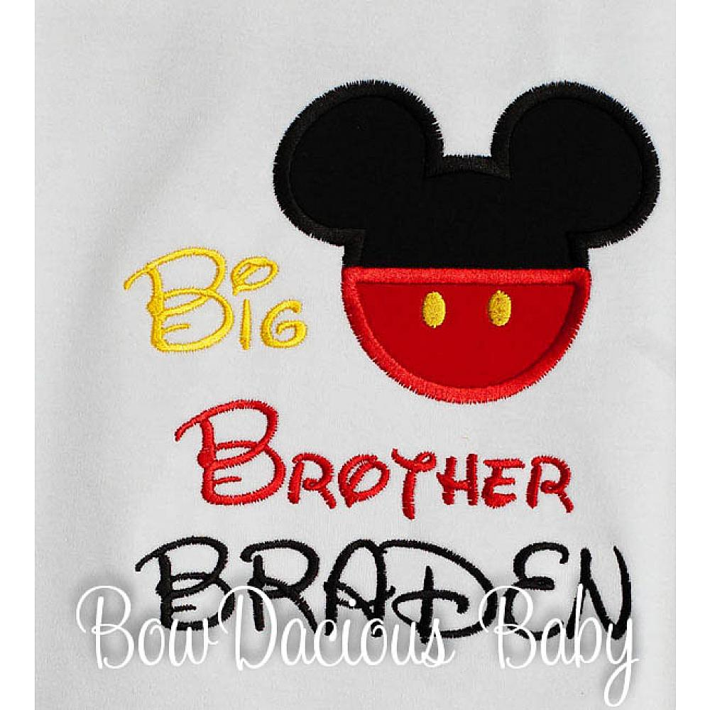 Mickey Mouse Boys Sibling Personalized Big Brother Shirt Lil Bro Custom