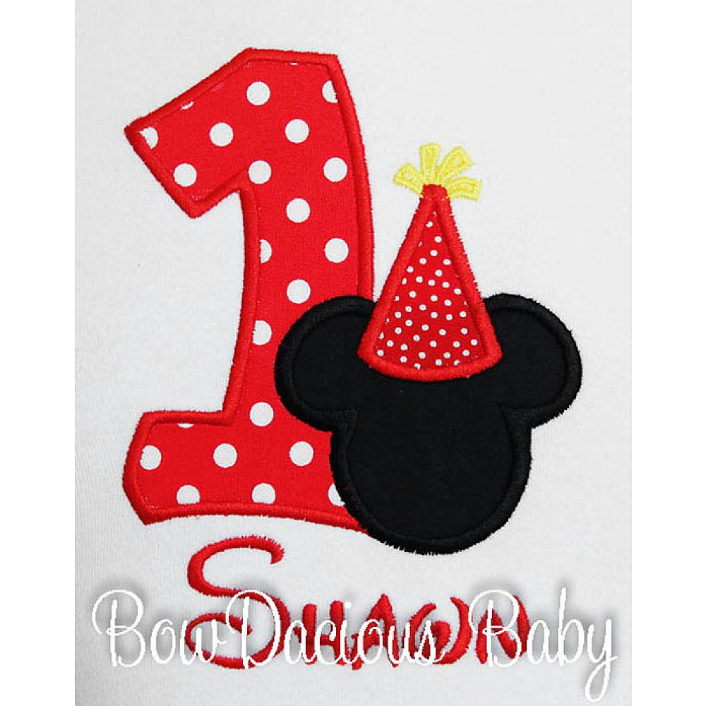 Mickey Mouse Birthday Shirt Bodysuit Onesie Party Hat Disney Shirt