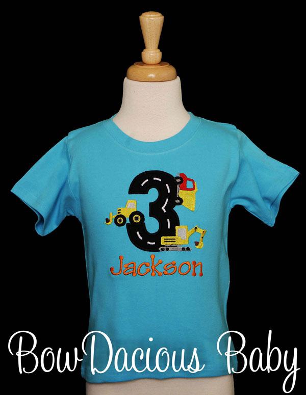 Appliqued Contruction Vehicles Birthday Shirt, Custom, Any Age and Colors