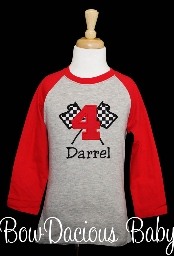 Checkered Flag Birthday Shirt, Custom, Personalized, Any Age/Color