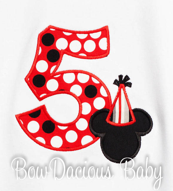 5th Birthday Mickey Mouse Number Shirt or Onesie, Custom, Any Age, Long or Short Sleeves