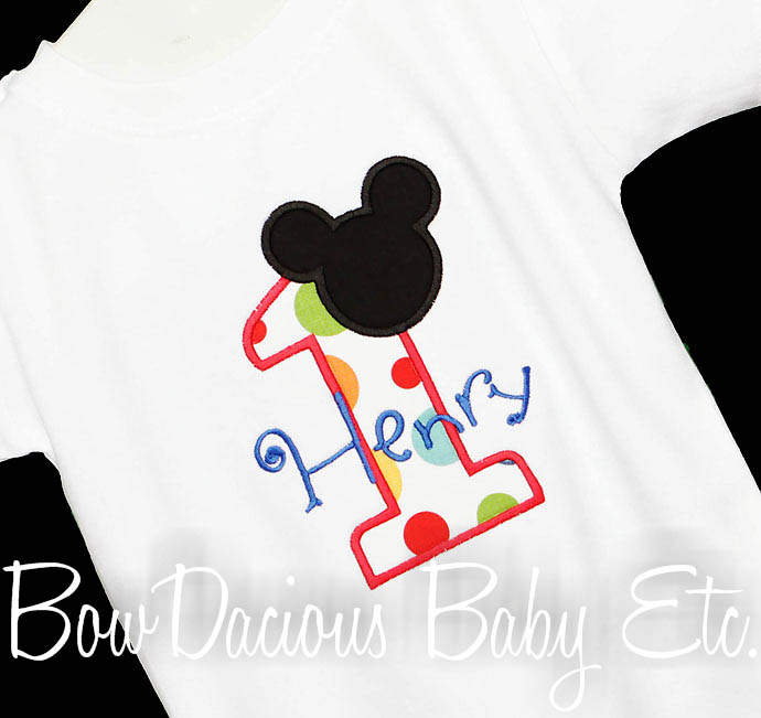 Boys Mickey Mouse Clubhouse Birthday Onesie or Shirt, Custom