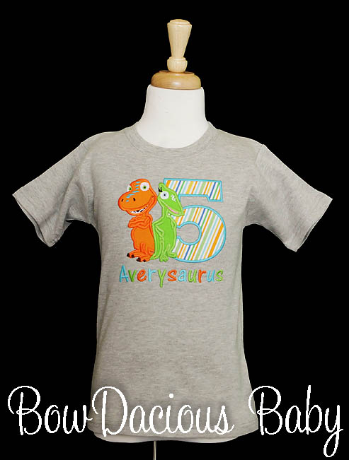 Personalized Dinosaur Train Birthday T-Shirt with Buddy and Tiny, Custom, Any Age