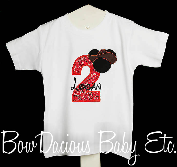 Personalized Cowboy Mickey Mouse Birthday Shirt, Any Age, You Pick the Fabrics and Font