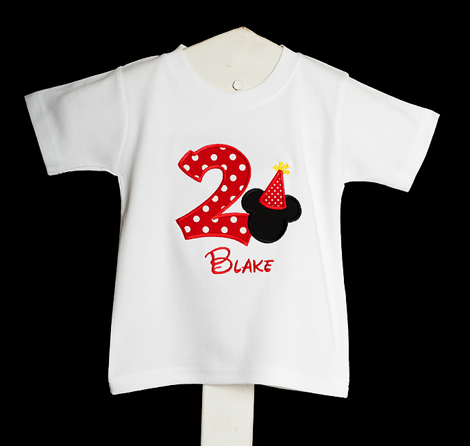 Birthday Hat and T-shirt - Personalized Mickey Mouse in Red, Yellow, Black, White - Mickey Mouse Clubhouse