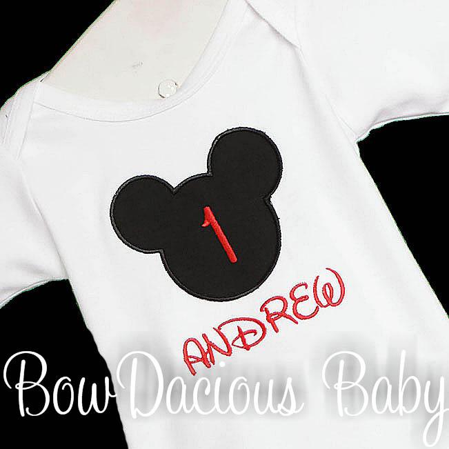 Personalized Mickey Head Birthday Shirt or Onesie, Custom
