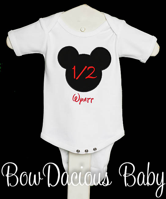 Mickey Mouse Half birthday Shirt or Onesie, Half birthday shirt, Half Birthday Bodysuit, Mickey Mouse