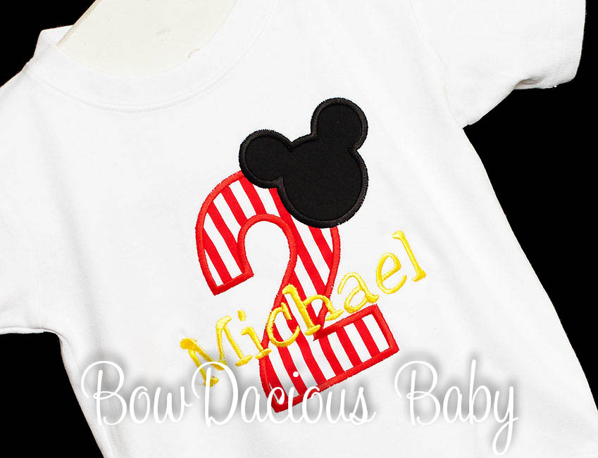 Mickey Mouse 1st Birthday Shirt or Onesie, Mickey Print, Custom