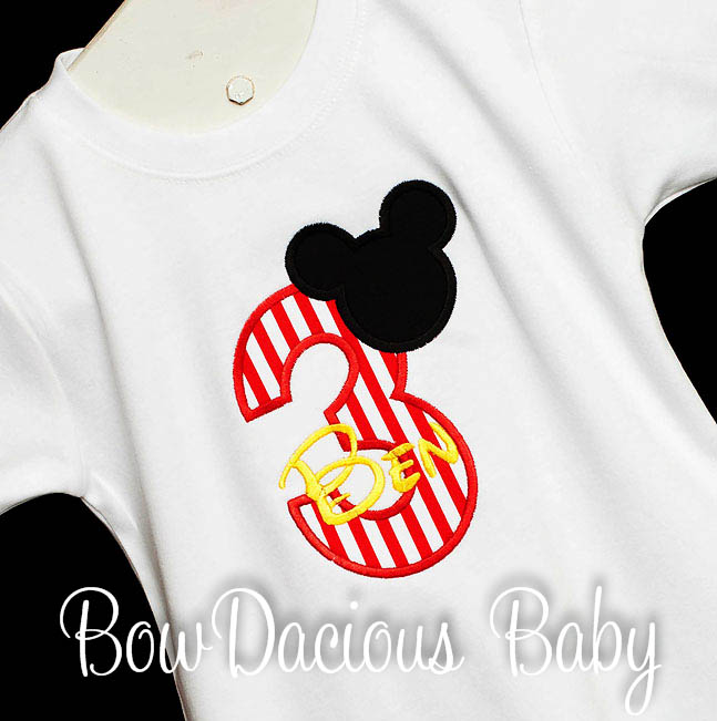 Mickey Mouse 1st Birthday Onesie Mickey Print Baby Boy Birthday Party Outfit, Custom