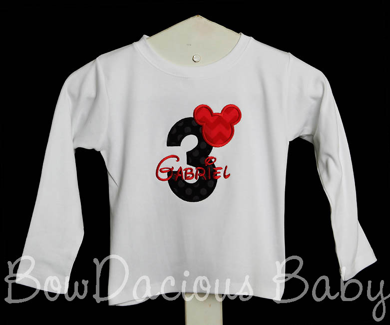 Mickey Mouse 3rd Birthday Three Shirt Boy Outfit Third Disney