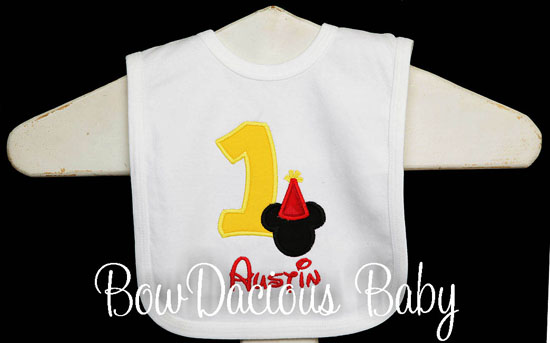 Mickey Mouse Birthday Bib