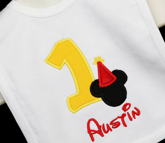 Mickey Mouse Birthday Bib, Party Hat Mickey Mouse, First Birthday Mickey Mouse Bib and Hat, Personalized