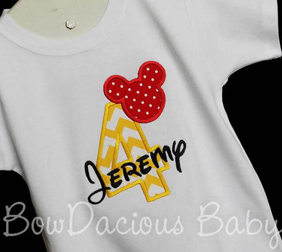 Mickey Mouse Birthday Shirt, 4th Birthday, Mickey Mouse, Custom, Any Age