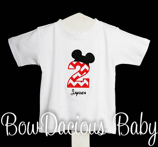 Mickey Mouse Birthday Shirt, Personalized Birthday and Name, Appliqué, Embroidery
