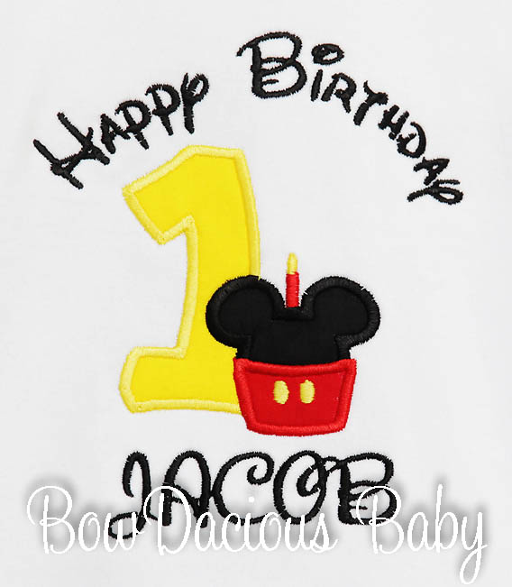 Mickey Mouse Birthday Shirt, Boys First Birthday T-shirt, 1st Pictures, Custom, Any Age, Red, Black, Yellow, Embroidered