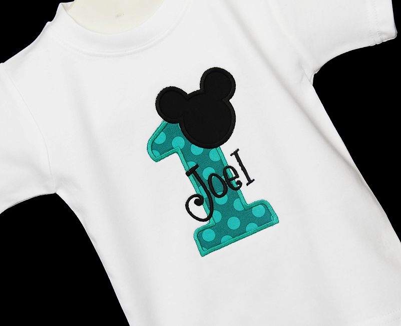 Mickey Mouse Inspired First 1st Birthday Onesie, Shirt, Bodysuit, Personalized, Embroidered, Applique, Boy, Girl