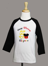 Raglan Mickey Mouse Birthday Shirt, Cupcake Mickey Birthday Shirt or Onesie, Mickey Mouse Birthday Shirt with Number, Birthday Boy