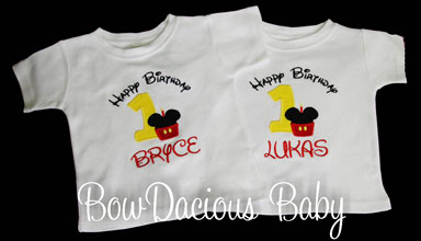 Twin Birthday Shirts, Minnie and Mickey Mouse Birthday, Boy, Girl Twin Birthday, Twin Birthday Outfits, First Birthday
