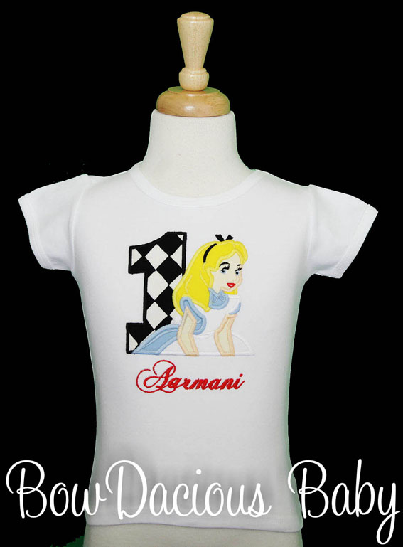 Alice in Wonderland Birthday Shirt or Onesie, Custom