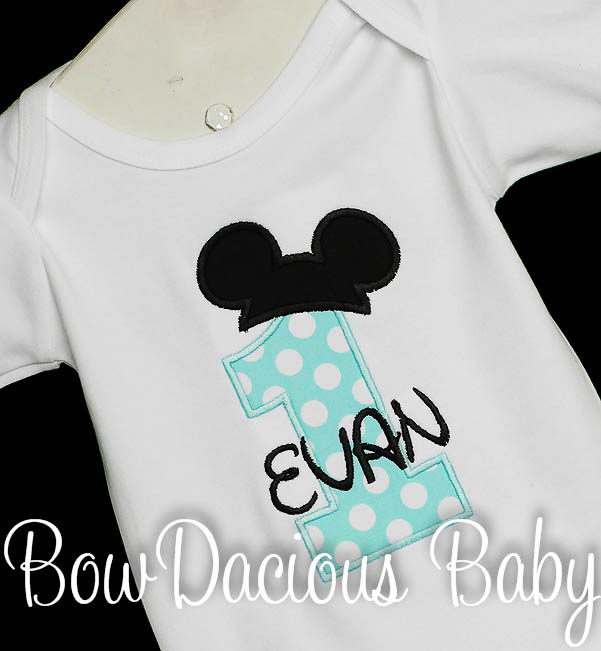 Birthday Mickey Ears Number Shirt Disney Applique, Custom, Any Age, You Pick the Colors, Shirt or Onesie