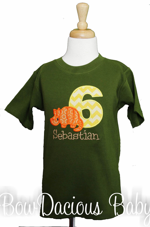 Personalized Armadillo Birthday Shirt, Custom, Personalized-Any Age and Colors
