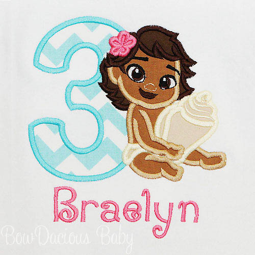 Baby Moana Birthday Shirt, Custom, Any Age, Any Colors, Embroidery