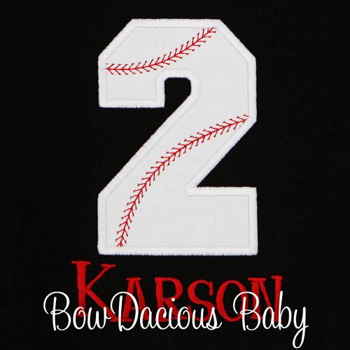 Boys Personalized Baseball Number Birthday Shirt, Custom, Any Age
