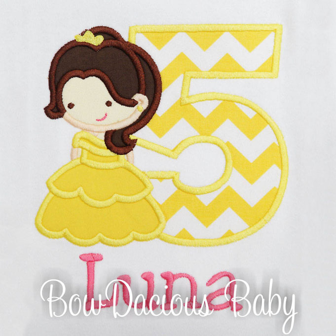 Belle, Beauty and the Beast Birthday Shirt or Onesie, Custom, Any Age, Any Colors