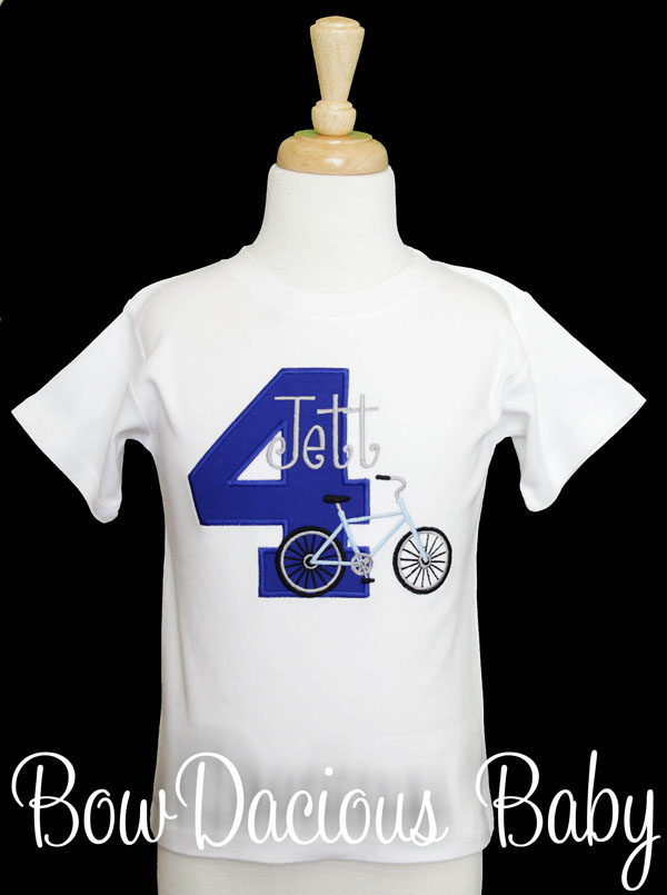 Personalized Bicycle Birthday Shirt, Custom, Personalized, Any Age and Colors