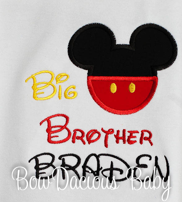 Mickey Mouse Boys Sibling Personalized Big Brother Shirt Lil Bro